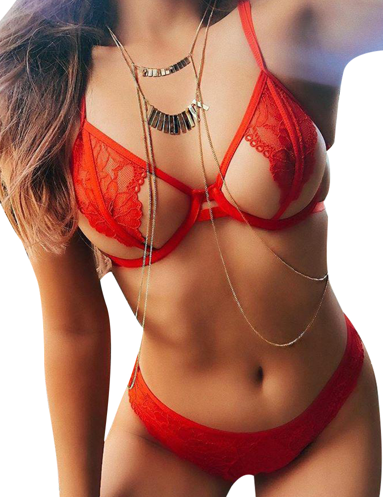Lovely Sexy Hollowed-out Red Lace Two-piece Swimwear