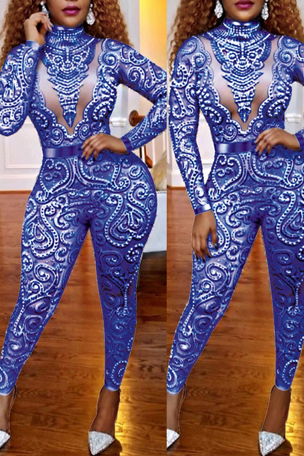 Lovely Sexy Hollowed-out Blue One-piece Jumpsuit