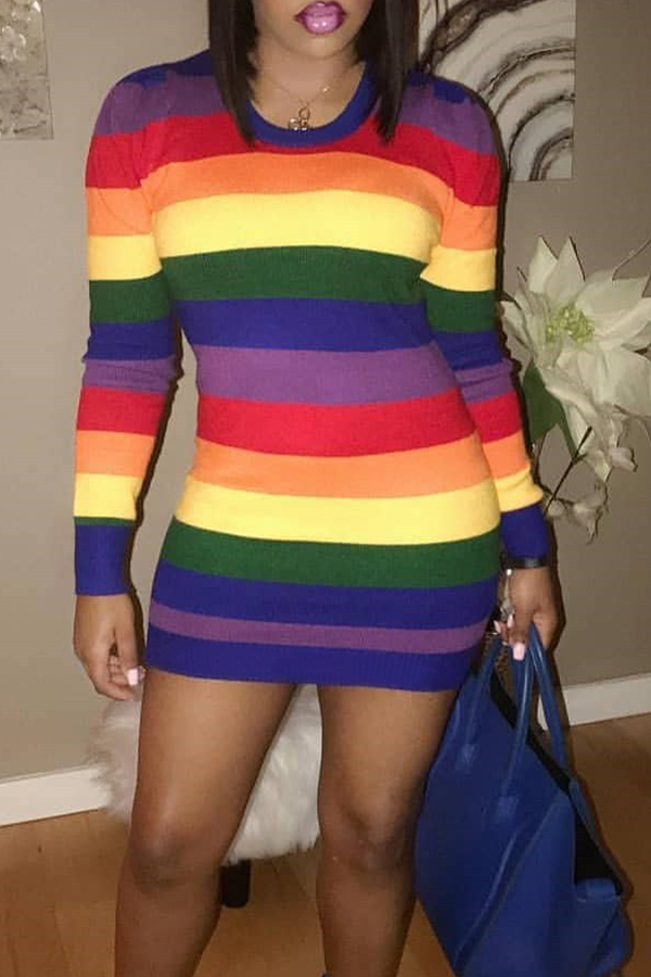 Lovely Casual Striped Multicolor Twilled Satin Mini Dress