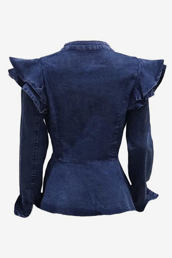 Lovely Casual Falbala Design Baby Blue Denim Coat