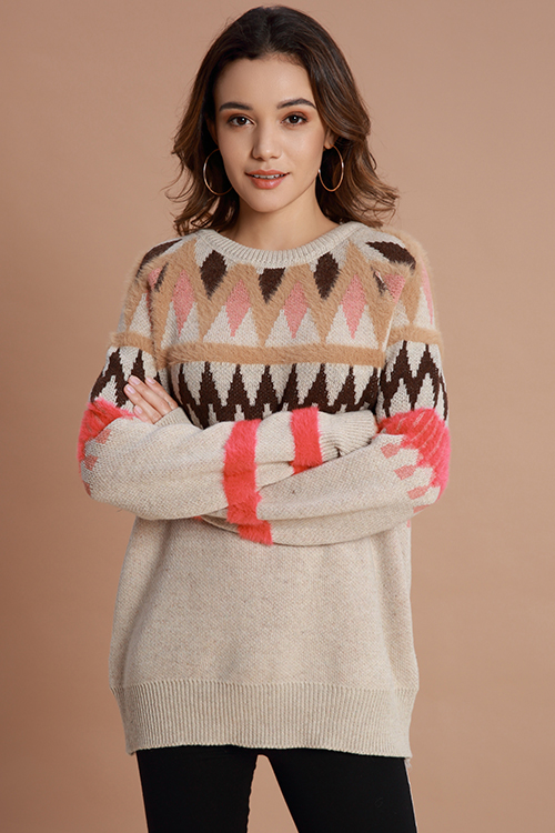Lovely Casual Geometric Apricot Sweaters