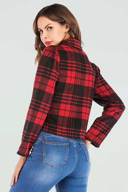 Lovely Trendy Grids Printed Red And Black Coat