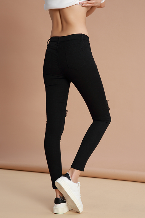 Lovely Casual Hollowed-out Black Denim  Jeans
