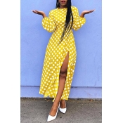 Lovely Sweet Dots Printed Yellow Blending Ankle Le