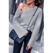 Lovely Chic Dew Shoulder Light Grey Cotton Sweater