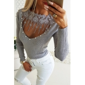 Lovely Chic Hollowed-out Grey Sweaters
