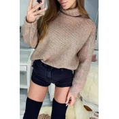 Lovely Casual Turtleneck Khaki Knitting Sweaters