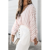 Lovely Casual Striped Pink Cotton Blends Shirts