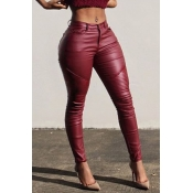 Lovely Casual  Skinny Wine Red PU Pants