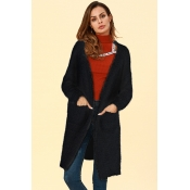 Lovely Casual Pockets Black Blending Cardigan Swea
