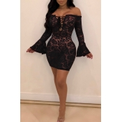Lovely Sexy See-through Black Lace Mini Dress