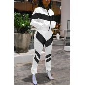 Lovely Casual Black and White Patchwork Two-piece