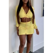 Lovely Trendy Hooded Collar Yellow Two-piece Skirt  Set