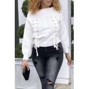 Lovely Trendy Bandage White Sweaters