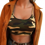 Lovely Trendy Camouflage Printed Yellow Cotton Blends Tank Top