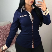 Lovely Casual Patchwork Royal Blue Cotton Shirts