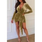 Lovely Trendy Ruffle Gold Velvet Mini  Dress