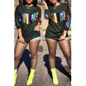 Lovely Trendy Patchwork Army Green Hoodies