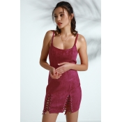 Lovely Trendy Lace-up Wine Red Faux Leather Mini