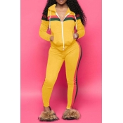 Lovely Casual Striped Hooded Collar Yellow Blendin