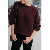 Lovely Casual Buttons Decorative Wine Red Sweaters