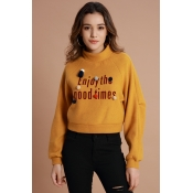 Lovely Chic Letters Printed Yellow Hoodies