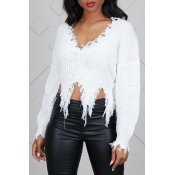 Lovely Casual Tassel Design White Blending Sweater