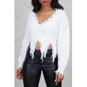 Lovely Casual Tassel Design White Blending Sweate