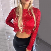 Lovely Sexy Hollowed-out Red Knitting T-shirt