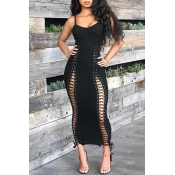Lovely Sexy Hollowed-out Black Ankle Length Dress