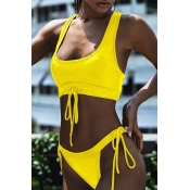 Lovely Trendy Lace-up Yellow Two-piece Swimwears