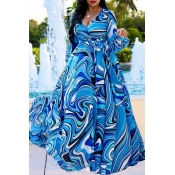 Lovely Bohemian Printed Blue Blending Floor Length