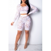 Lovely Trendy See-through White Lace Two-piece Shorts Set(Without Underpants )