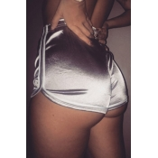 Lovely Casual Patchwork Silver Shorts