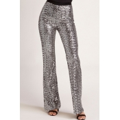 Lovely Trendy Loose Silver Sequined Pants