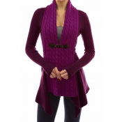 Lovely Trendy Patchwork Purple Cardigan Sweaters