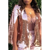 Lovely Trendy Long Sleeves Pink Sequined Coat
