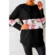 Lovely Casual Floral Printed Black Hoodies