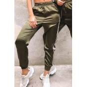 Lovely Casual Striped Loose Army Green Pants