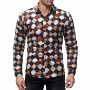 Lovely Casual Grids Printed Coffee Cotton Shirts