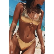Lovely Sexy Skinny Gold Two-piece Swimwear
