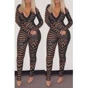 Lovely Trendy  Patchwork  Black Blending One-piece Jumpsuit