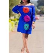 Lovely Trendy  Dew Shoulder Blue Knee Length Dress