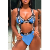 Lovely Chic Patchwork Blue Two-piece Swimwear