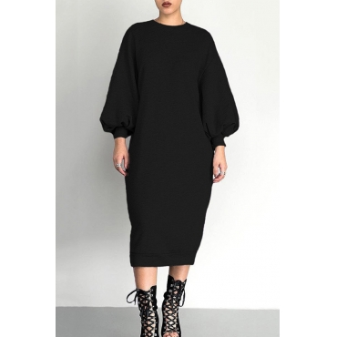 Lovely Casual Puffed Sleeves Black Cotton Mid Calf  Dress