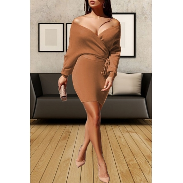 Lovely Sexy Dew Shoulder Coffee Mini  Dress