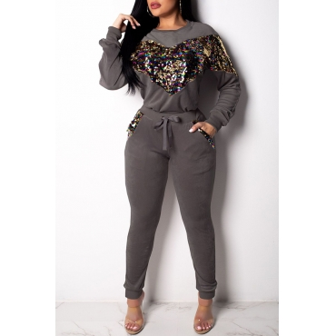 Lovely Casual Patchwork Grey Cotton Two-piece Pants Set