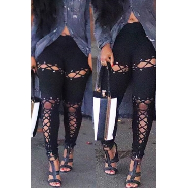 Lovely Chic Hollowed-out Black Twilled Satin  Pants