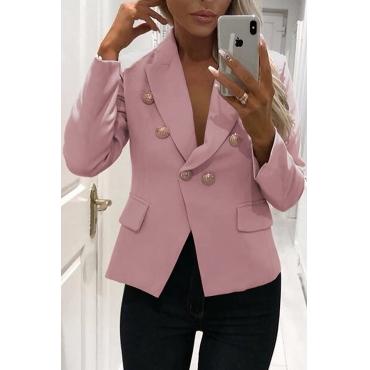 Lovely Work Buttons Decorative Pink Cotton Blends Blazer