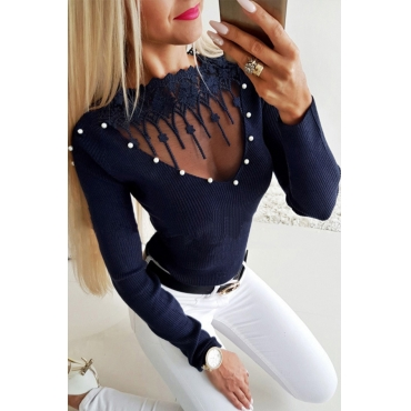 Lovely Chic Hollowed-out Blue Sweaters